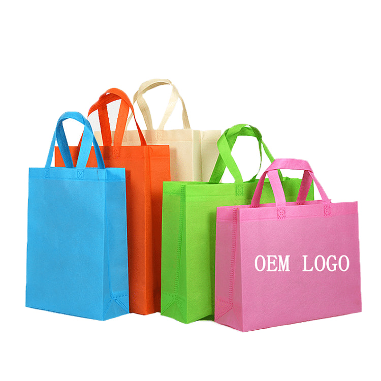 Custom Printed Logo Colorful Non Woven Reusable Ping Tote Bag For Promotional