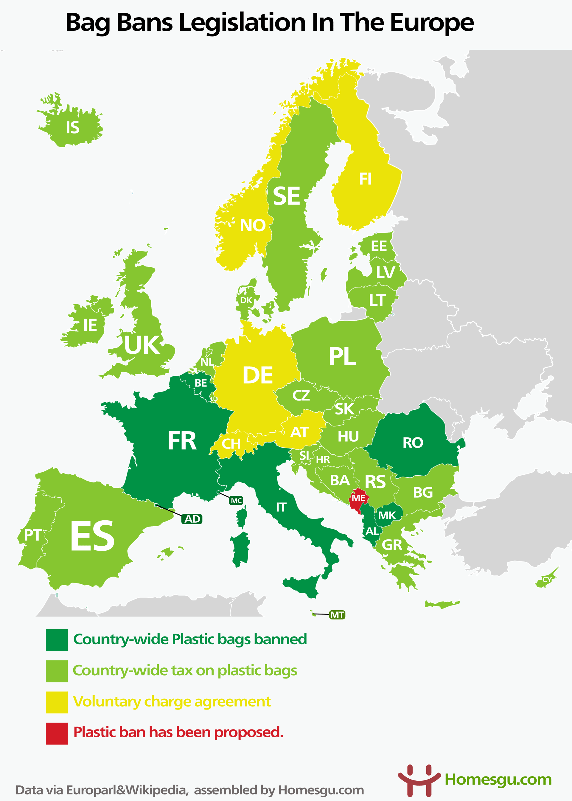 map of plastic bag bans legislation in the european union