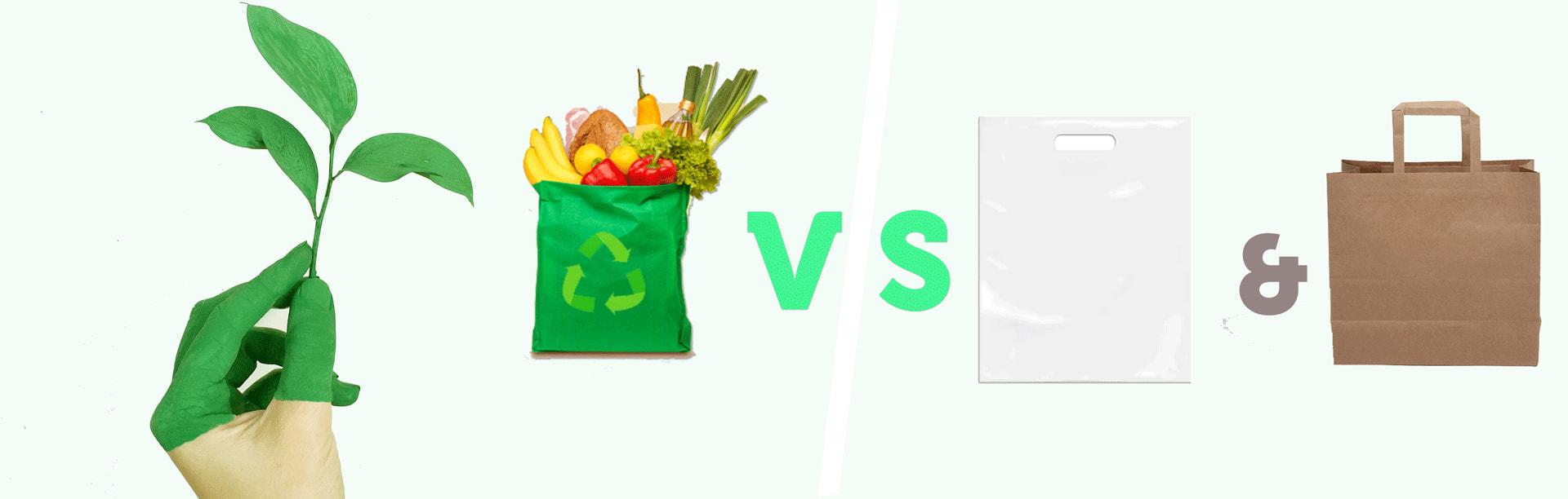 reusable bags vs plastic bags and paper bags
