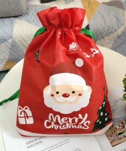 custom non-woven christmas reusable drawstring gift bag 01
