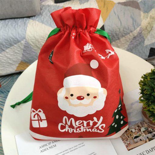 custom non-woven christmas reusable drawstring gift bag 01