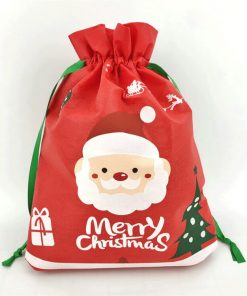 custom non-woven christmas reusable drawstring gift bag 02