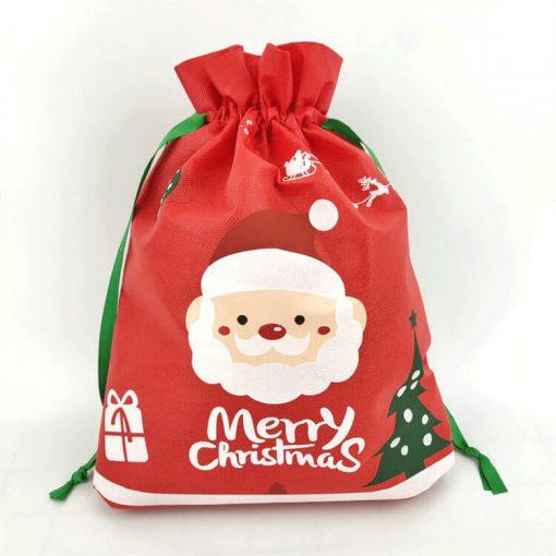 custom non-woven christmas reusable drawstring gift bag 02