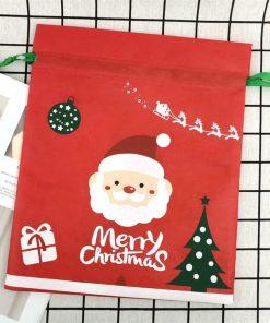 custom non-woven christmas reusable drawstring gift bag 04