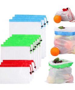custom produce reusable nylon mesh kitchen fruits food storage bag 01