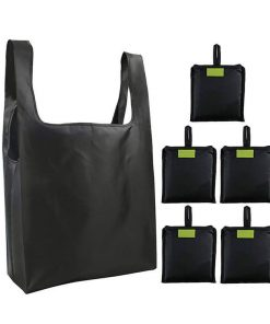 custom reusable grocery shopping tote travel foldable attached pouch bag 01
