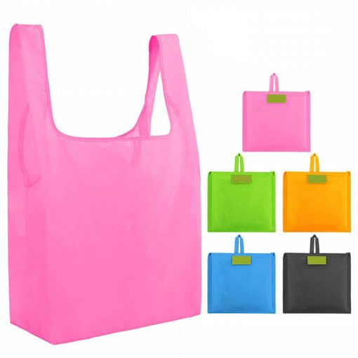 custom reusable grocery shopping tote travel foldable attached pouch bag 02