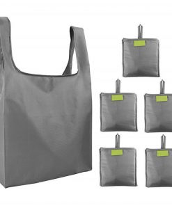 custom reusable grocery shopping tote travel foldable attached pouch bag 03