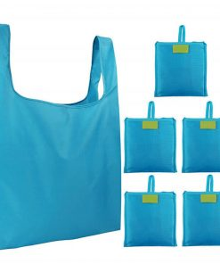 custom reusable grocery shopping tote travel foldable attached pouch bag 04