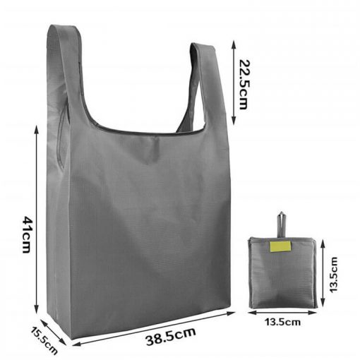 custom reusable grocery shopping tote travel foldable attached pouch bag 06