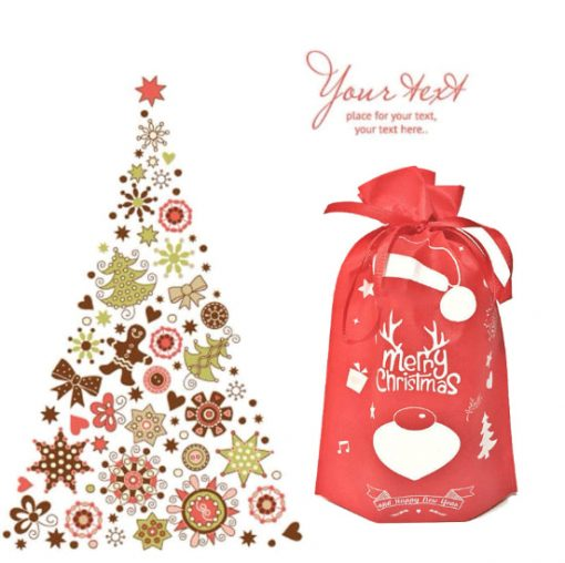 oem non-woven christmas reusable drawstring gift bag 03