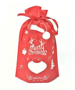 oem non-woven christmas reusable drawstring gift bag 04