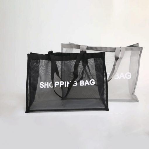 wholesale reusable tote mesh shopping bag nylon mesh beach net bag 01