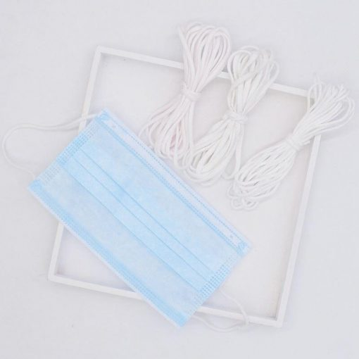 Wholesale Elastic Ear Loops Materials Supplier‎ White Tie Disposable Elastic Band 3mm Rope String Earloop Elastic Rope 03