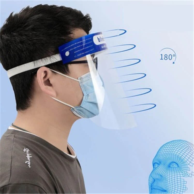 wholesale high quality safety equipment protective anti-fog 32x22cm comfortable fit plastic face shield for public use 01-03