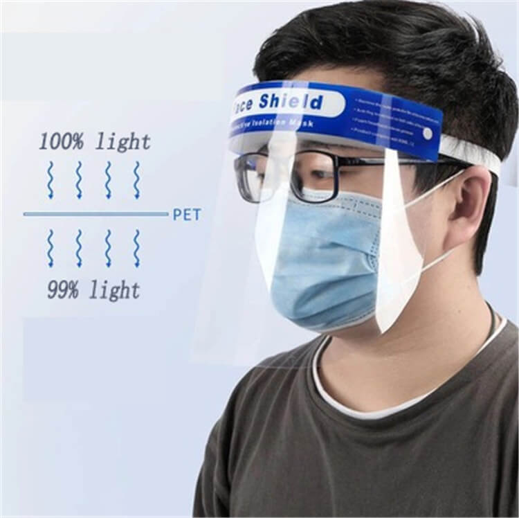 wholesale high quality safety equipment protective anti-fog 32x22cm comfortable fit plastic face shield for public use 01-04