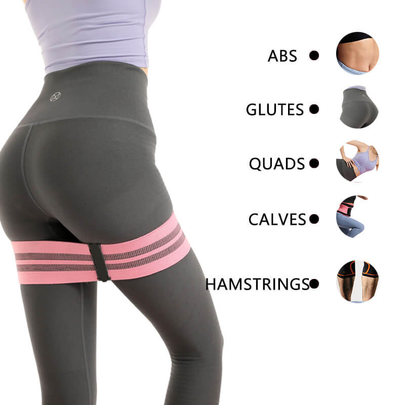 Wholesale Exercise Custom Printed Set of 3 Exercise Stretch Hip Circle Fabric Booty Squat Resistance Bands Adjustable Yoga Exercise Strap Loop Belt03