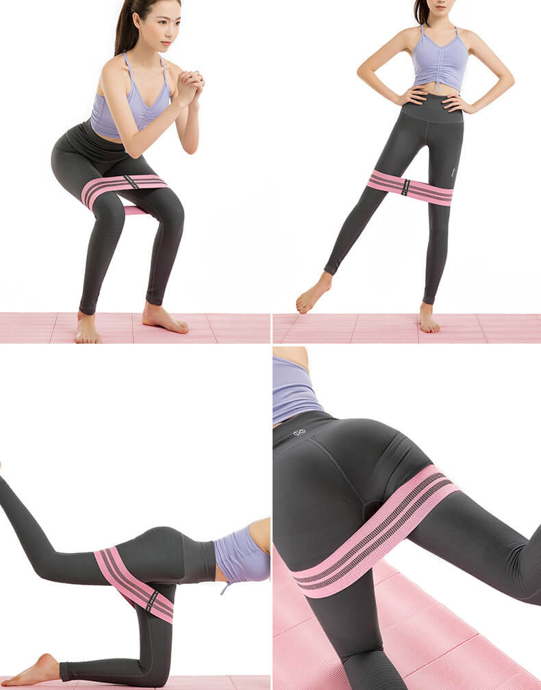 Wholesale Exercise Custom Printed Set of 3 Exercise Stretch Hip Circle Fabric Booty Squat Resistance Bands Adjustable Yoga Exercise Strap Loop Belt 05